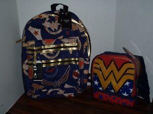 DC Comics Wonder Woman Double Zip Backpack School Book Bag New & Lunch Box