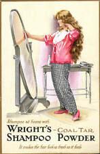 Advertising Poster. Wright's Coal Tar Shampoo Powder. Shampoo at Home.