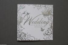 White Wedding Evening Invitation SILVER Embossed Love Birds Design
