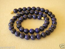 "Blue Lapis Lazuli 8mm Necklace Round Beads 16"" necklace 8 mm Lapis Beads"
