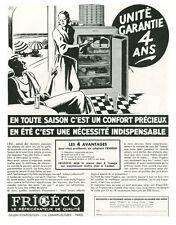 Publicité ancienne réfrigérateur Frigéco  1933 issue de magazine