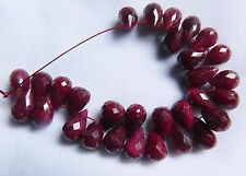 Ruby, Beautiful Colour, 1 x Faceted Teardrop Briolette  9-10mm x 6mm