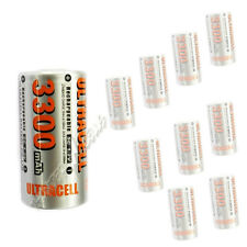 10 x Sub C 1.2V 3300mAh NiMH Rechargeable Battery Flat Top Ultracell Silver O