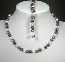 Süßwasser Perlen Halskette Armband bunt Silberverschluß