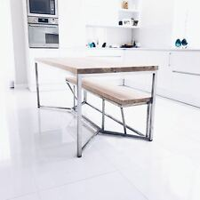 Oak Tower Industrial Style Dining Table Solid Wooden Rustic Vintage