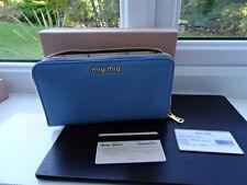 100% autentico blu pastello Miu Miu Fiore interni in pelle Borsa Portafoglio con Cerniera