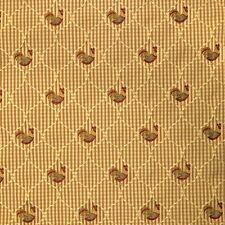 Rooster Chicken Golden Toast Check Upholstery BTY with Red, Green & Yellow