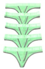 Victoria Secrets Thong Pink Logo In Neon Green 5 X Pack Size M