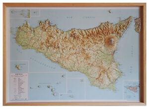 Sicilia Carta In Rilievo [94x71 cm] [con cornice in legno] [Mappa/Cartina]