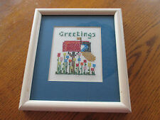 "Vintage Finished Framed Cross Stitch Picture ""Greetings"" 9 1/2"" x 8 1/2"" Mailbox"