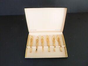 Vintage Set 6 Tancraft Janis Collection 24kt Gold Plated Oyster Cocktail Forks