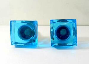 Set of 2 Pcs Antique Vintage Glass Square Blue Door Knob  Architectural Salvage