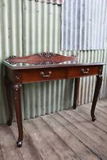 A Vintage Mahogany French Style Hall Table Console with Glass Top - Desk