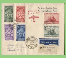 More details for belgium/vatican 1939 round trip registered flight cover