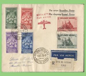 Belgium/Vatican 1939 Round trip registered flight cover