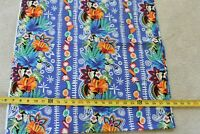 By 1/2 Yd, Colorful Flowers & Paisley Stripes on Blue Quilt Cotton/Kaufman N5870