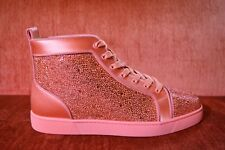 NEW Christian Louboutin Orlato Flat Satin Strass Size 10 EU 43 Red Crystals Gems