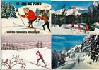 Lot 4 cartes postales ski skieur ski de fond