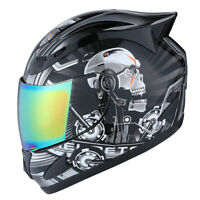 1STORM DOT MOTORCYCLE STREET BIKE FULL FACE HELMET MECHANIC WHITE SKULL BLACK