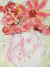Pink Roses Daisy Floral Painting Original Impasto Knife Art Katie Jeanne Wood