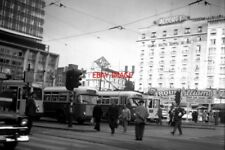 PHOTO  BELGIUM TRAM 1960 - BRUXELLES-BRUSSEL PLACE ROGIER: VARIOUS BUSES AND TRA