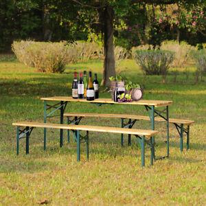 5.8ft Wooden Folding Beer Table & Bench Set Outdoor Garden Picnic Trestle Dining