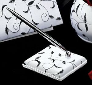 black and white pen set vine embroidered use with any guest book Guest Signature