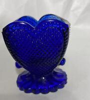 Boyd Blue glass toothpick holder heart pattern art cobalt