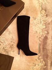 NWB Gucci Boot Black Suede Bamboo Heel Size 38C (US 8,5) RRP $1350