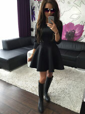 UK Women 3/4 Sleeve Skirt Dress Ladies Evening Party Mini Skater Dress Size 6-14