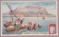 Fishermen Boats Mont Pellagrino Sicily Palermo Italy c1905 Trade Ad Card