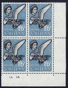 TRISTAN DA CUNHA 1963 RESETTLEMENT 1/6D BIRD CORNER PLATE 1A BLOCK OF FOUR VFUM