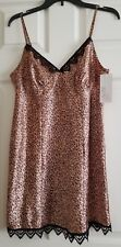 "NWT Women's ""Gilligan & O'Malley"" Brown Animal Print Satin Chemise Size M"
