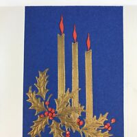 Vintage Early Mid Century Christmas Greeting Card Embossed Gold Candles Red Blue