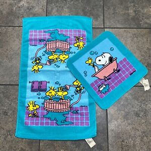 NEW! VTG 1965 Snoopy & Woodstock Collectible 2PC Washcloth Hand Towel Set