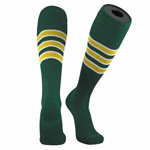TCK Pro Elite Oakland Dark Green, White, and Gold Knee-High Long Striped Socks