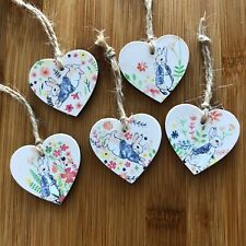 5 Mini Peter Rabbit Wooden Hearts Easter Tree Decorations, Gift Tags Handmade