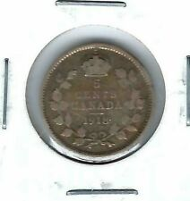1918 Canadian Circulated  George V Silver Five Cent Coin!