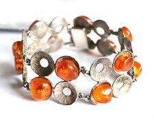 Art Deco - 835 WSA Silber Armband - BERNSTEIN - honey amber silver bracelet