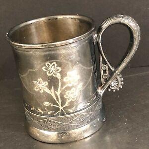 Antique Baby Cup Mug Webster Bro Quadruple Silver Plate Arm Hammer Mark Made USA