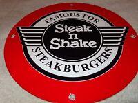 """VINTAGE """"STEAK N SHAKE"""" 11 3/4"""" PORCELAIN METAL RESTAURANT SODA POP GAS OIL SIGN"""