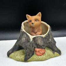 Vintage Fox Figurine porcelain cub log statue sculpture knick knack animal puppy