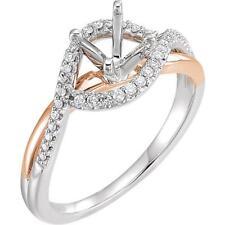 14k White and Rose Gold Diamond Semi Set Engagement Ring Mounting