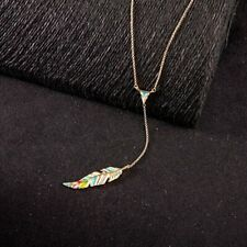 Simple Long Sweater Chain Diamond Color Enamel Feather Pendant Necklace Jewelry