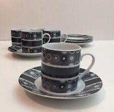 Black Geo Print Design Fine Porcelain Espresso Demitasse Cups and Saucers Set 5