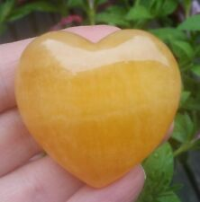 LARGE ORANGE CALCITE POLISHED HEART, Smooth Worry Stone Healing Crystal (OCH)