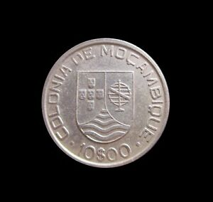 PORTUGUESE MOZAMBIQUE 10 ESCUDOS 1936 SILVER KM 67 #3518#