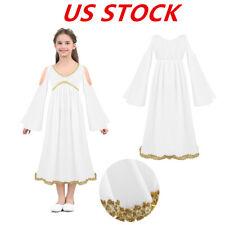 US Kids Girls Halloween Costume Dress Long Sleeves V-neckline Cosplay Long Maxi