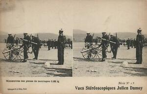 1906 VINTAGE STEREOSCOPIQUES JULIEN DAMOY SOLDIERS MOVING a FIELD GUN POSTCARD