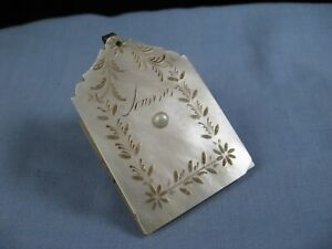 MOTHER OF PEARL AIDE MEMOIRE ANTIQUE DANCE CARD BOOK CHATELAINE BAL DE CARNET